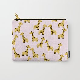 Cute Giraffe Print on Pink Background Carry-All Pouch