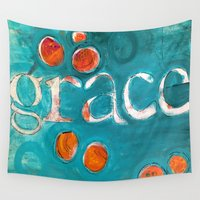grace Wall Tapestries featuring grace by Crystal Fowler