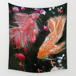 Splendens Splatter in Red and Orange Wall Tapestry
