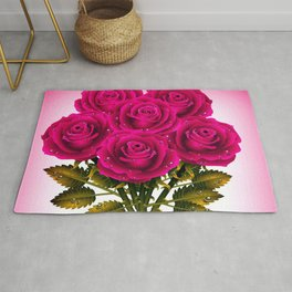 Pretty Gorgeous Bouquet Of Pink Roses Close Up UHD Rug