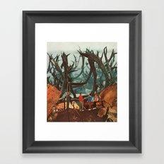 watching elk Framed Art Print