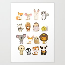 Mr. Lion, Mr. Squirrel & Their Friends Art Print