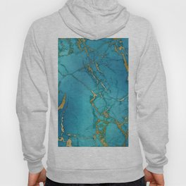 Blue and gold marble stone print Hoody