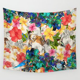 tiger and colorful flowers Wall Tapestry