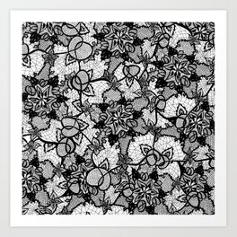 Elegant floral black hand drawn lace pattern Art Print