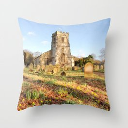 Spring Churchyard Throw Pillow