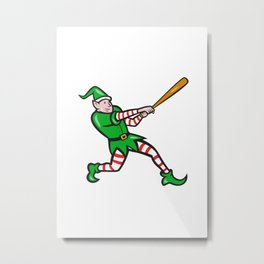 Elf Baseball Player Batting Isolated Cartoon Metal Print