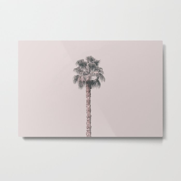 Tropical Palm Tree In Pastel Pink Light Metal Print