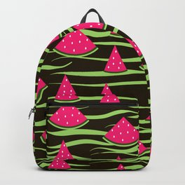 Watermelon on black background . 1 . Backpack