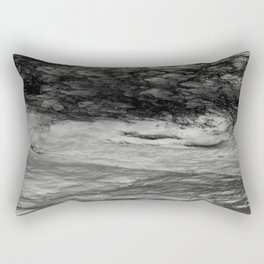 Black Tempest - Abtract Ocean Sea Pattern in Black And White Rectangular Pillow