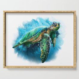 Abstract Watercolor Sea Turtle on White 3 Minimalist Coastal Art - Coast - Sea - Beach - Shore Serving Tray