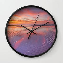 I - Beautiful sunset and reflections on the beach at low tide Wall Clock