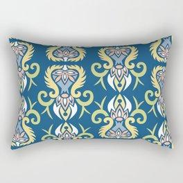 Modern Art Nouveau style pastels on classic blue pattern Rectangular Pillow