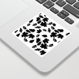 Falling Autumn Leaves in Black and White Sticker