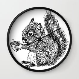 Squirrel in black & white Wall Clock