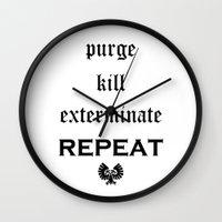 warhammer Wall Clocks featuring Purge-kill-exterminate black, Warhammer 40K by ZsaMo Design