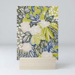 White chrysanthemums -ink floral Mini Art Print