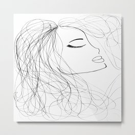 Sketch of a Girl. From my Coloring Book by Jodi Tomer. Curly Hair, Beautiful Girl Metal Print