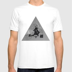 Abstract Triangle Mens Fitted Tee White MEDIUM