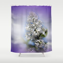 white lilac on textured background -a- Shower Curtain