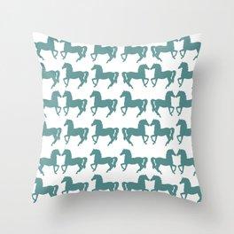 Prancing Horses Silhouette Throw Pillow