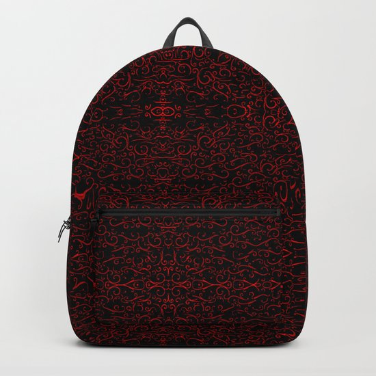Red Swirlicues On Black Backpack