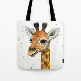 Baby-Giraffe-Nursery-Print-Watercolor-Animal-Portrait-Hearts Tote Bag