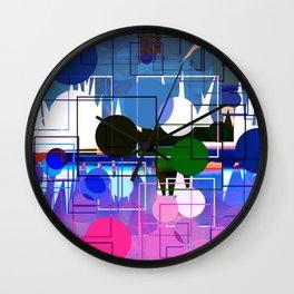 Multi- Blue Sticker Line Abstract Design Wall Clock