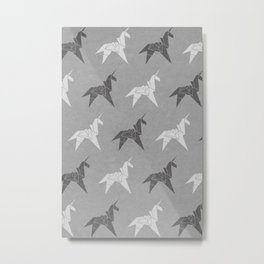 Origami Unicorn Grey Metal Print