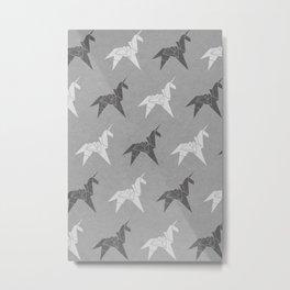 Origami Unicorn Grey Metal Print