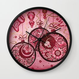 Winter holidays decorations in petrykivka style Wall Clock
