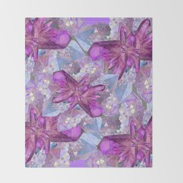 PURPLE AMETHYST & QUARTZ CRYSTALS FEBRUARY GEMS Throw Blanket