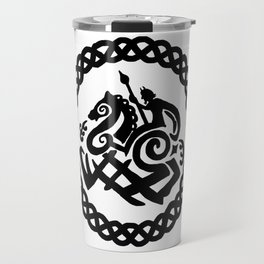 Odin And Sleipnir In Celtic Ring Travel Mug