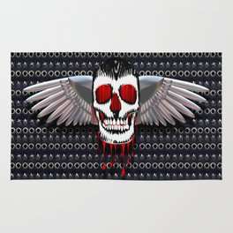 Skull with chromed wings on leather illustration Rug