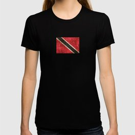 Vintage Aged and Scratched Trinidadian Flag T-shirt