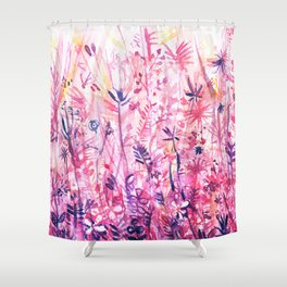 watercolor pink grass Shower Curtain