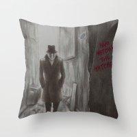 rorschach Throw Pillows featuring Rorschach by JadeJonesArt