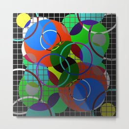 Caged Geometry - Abstract, metallic, geometric, rainbow coloured circles Metal Print