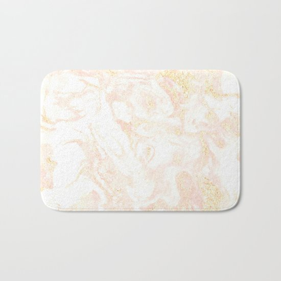White Marble Pastel Pink and Gold by Nature Magick Bath Mat