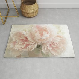 Shabby Chic Cottage Pastel Pink Peony Prints and Peony Home Decor Rug