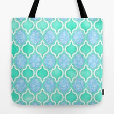Moroccan Aqua Doodle pattern in mint green, blue & white Tote Bag