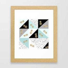 Pastel color block watercolor dots faux gold pineapple Framed Art Print