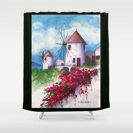 Windmills of Santorini Shower Curtain
