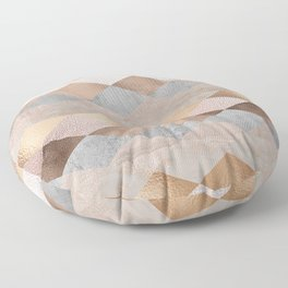 Copper and Blush Rose Gold Marble Argyle Floor Pillow