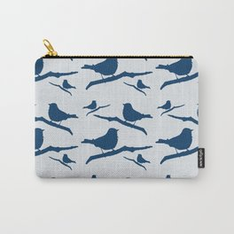 Blue Silhouette Bird Carry-All Pouch