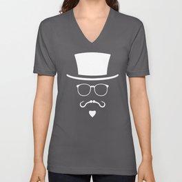 Hipster Mustache Fisherman Unisex V-Neck