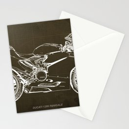 Motorcycle blueprint, Superbike 1299 Panigale, 2015,brown background, gift for men, classic bike Stationery Cards