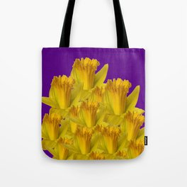 ROYAL PURPLE YELLOW SPRING DAFFODILS Tote Bag