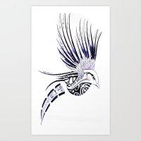 maori Art Prints featuring Colibri Maori by Aurélie B