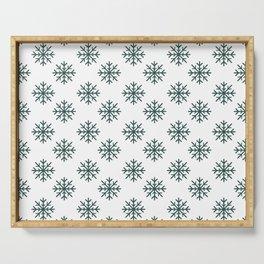 Snowflakes (Dark Green & White Pattern) Serving Tray